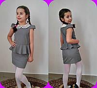 Платье школьное с коротким рукавом и воротник эко кожа перфорация для девочек в расцветках