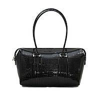 Элегантная женская сумка Vatto лаковая черная из высококачественного заменителя.