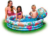 """Надувной детский бассейн Intex """"Рыбки"""" 59469 с кругом и мячом."""