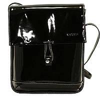 Женская сумочка-планшет Vatto черная из натуральной лаковой кожи