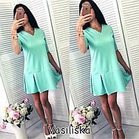 Женское модное платье-трапеция с коротким рукавом  (4 цвета)