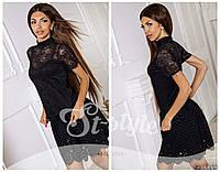 Блузка женская гипюровая с коротким рукавом Черная