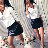 Женская стильная мини юбка из эко-кожи