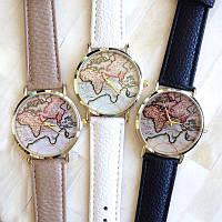 Часы Женева geneva Карта черный ремешок