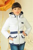 Белая куртка для девочек   Детская куртка Змейки
