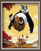 Картина по номерам на холсте без коробки Панда кунг-фу (BK-G136) 40 х 50 см