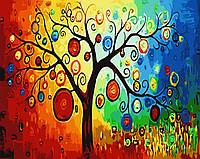 Картина раскраска по номерам без коробки Дерево богатства (BK-G345) 40 х 50 см