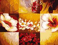 Картина раскраска по номерам без коробки Цветочная абстракция (BK-GX6225) 40 х 50 см