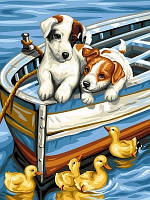 Картина-раскраска Щенки и утята (VK144) 30 x 40 см