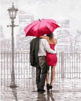 Картина-раскраска Турбо Влюбленные под красным зонтом (VP550) 40 х 50 см