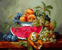 Раскрашивание по номерам Турбо Натюрморт с арбузом и виноградом (VP597) 40 х 50 см