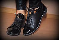 """Туфли  """"2 кнопки - с камнями""""  код 1037"""
