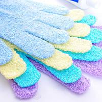 Массажная рукавичка отшелушивающая - голубая