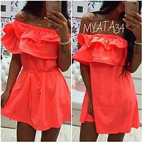 Женское платье прямое из коттона с двойным  воланом