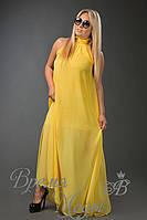 Летнее шифоновое платье-сарафан в пол, воротник стоечка. /Жёлтое) (9 цветов)