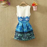 Платье женское жаккардовое с сине-зеленым принтом
