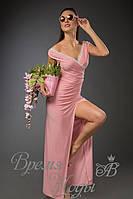Платье из масла в пол с белым кружевом. /Розовое/