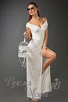 Платье вечернее, из масла, в пол, с кружевом. /Белое/