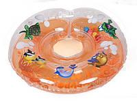 """Двухсторонний круг для купания на шею """"Дельфин"""" оранжевый для деток 0+"""