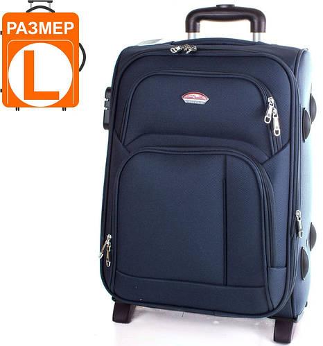 Надежный тканевый чемодан на 2-х колесах 86,11 л. Suitcase (Сьюткейс) АPT001L-6 синий