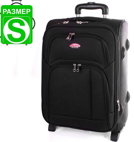 Компактный маленький тканевый чемодан 35,28 л. на 2-х колесах Suitcase (Сьюткейс) АPT001S-2 черный