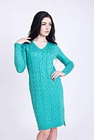 Теплое женское платье цвет мята