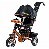 Детский Трехколесный велосипед Lamborghini,колеса пена, фара, ключ зажигания (коричневый)