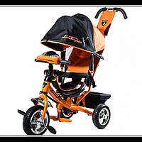 Детский Трехколесный велосипед Lamborghini,колеса пена, фара, ключ зажигания (оранжевый)