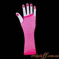 Перчатки митенки, розовая сеточка