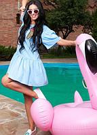 """Голубое платье с заниженной талией """"Мороженое"""""""