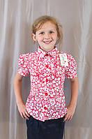 Нарядная летняя блуза для девочки лен-шифон, р. 122-140