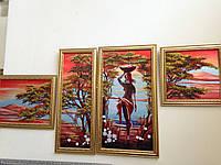Картина бисером полиптих Африканка полиптих из 4-х частей