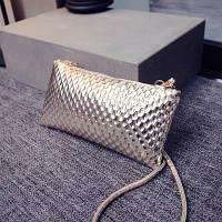 Маленькая женская сумка Клатч Рифление золотистая
