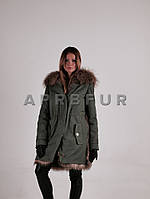 "Куртка-парка, с мехом енота, меховой капюшон-воротник - парка, куртка ""Eva"""