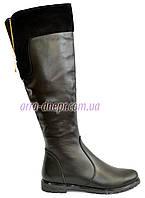 Женские кожаные высокие сапоги на байке, вверху натуральная замша. 38 размер
