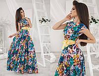 Легкое длинное шелковое платье в цветах