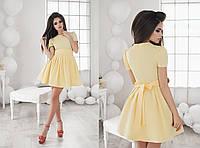 Короткое летнее желтое платье с поясом