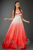 Платье из шифона в пол, пояс атласный съёмный. /Белый верх, красный низ/.