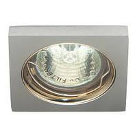 """Светильник галогенный """"Аluminium"""" DL1017 MR16/50W/12V G5.3 матовый алюминий, золото 75*75*25mm, Feron"""