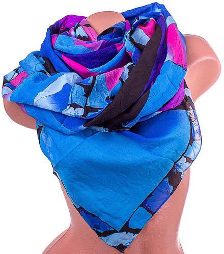 Легкий женский шарф из полиэстера 137 на 100 см ASHMA (АШМА) DS41-314-3 синий