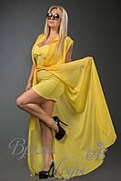 Жёлтая туника шифоновая в комплекте с платьем из масла в цвет туники. 10 цветов.