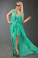 Зелёная туника шифоновая в комплекте с платьем из масла в цвет туники. 10 цветов.