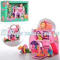 Домик Pony Park (аналог My little Рony/Литл Пони) с вращающимся подиумом: 4 лошадки + аксессуары