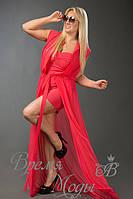 Красная туника шифоновая в комплекте с платьем из масла в цвет туники. 10 цветов.