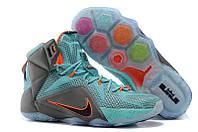 Баскетбольные кроссовки Nike Lebron 12 (найк леброн) голубые