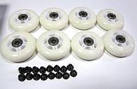 Колеса для роликовых коньков d-76 мм в наборе (8 колес с подшипниками и 16 втулок)