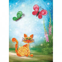 Объемный квиллинг - Кот с Бабочками