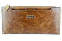 Женский кошелек JCCS 1052 темно-коричневый из натуральной кожи со съемной визитницей