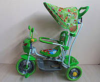 Детский трёхколёсный велосипед с родительской ручкой, зеленый