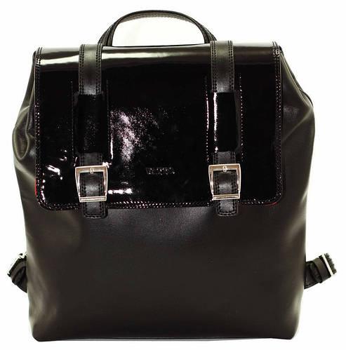 Женский рюкзак на клапане из натуральной кожи флотар 10 л. VATTO Wk26 Kaz1L1 черный